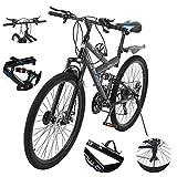 Sengei 26 Inch Mountain Bike Dual Disc Brake 21-Speed Full Suspension MTB Bikes, Lightweight and Durable for Men Women Bike (Black)