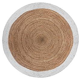 AC-Déco Tapis Rond Bord Blanc en Jute végétale – D 120 cm
