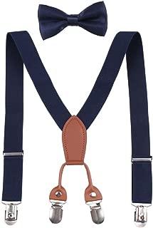 GUCHOL Kids 4 Clip Leather Suspenders Boy Adjustable Length Pants Accessories