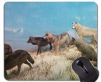 滑り止めラバーゲーミングマウスパッド、ミッドナイトブルーウルフオフィスマウスパッド
