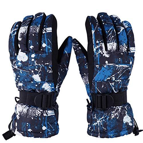 EVBEA - Guantes de esquí térmicos para niños y niñas para temperaturas de -5 ºC, impermeables, elásticos y cálidos para invierno, Hombre-Azul y Negro, large