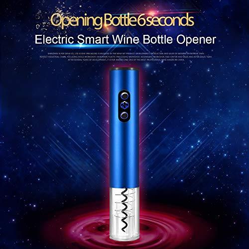 Brand Set Abrebotellas eléctrico para Vino Abrebotellas de Acero Inoxidable con Cortador de Aluminio Sacacorchos automático y removedor de Aluminio Sacacorchos de Botella de Vino(Azul)