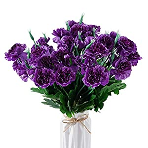 Beferr Artificial Carnation Bouquets Silk Petals Fake Flowers 6pcs Forever Plants for Home Party Wedding Office Table Garden Art Decoration (Purple)