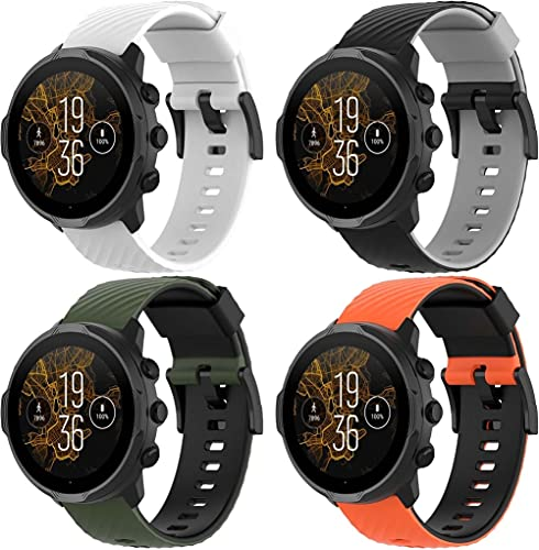 Gransho Pulseira de Relógio compatível com Suunto 9/9 Baro / 7 / Spartan Sport Wrist HR, Bandas de Reposição Esportiva de Silicone Macio (4-Pack H)