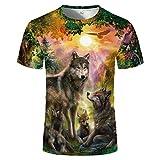 HYTR 3D Camisetas 3D An Y Moda Moon Wolves Multicolor Impreso Hombres Mujeres Camiseta Grande XXL