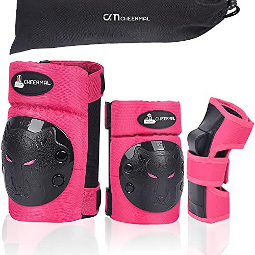 CHEERMAL Inliner Schoner Set für Kinder ab 3 bis 12 Jahre - 6 in 1 Schutzausrüstung Set mit 2 Knieschoner, 2 Ellbogenschoner, 2 Handgelenkschoner, Ideal für Skateboarden,Roller oderSki Fahren.