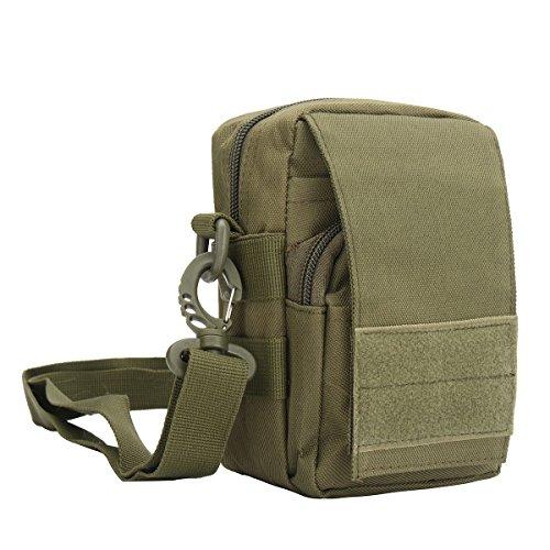 CAMTOA Taktische Tasche für Outdoor-Aktivitäten, kompakt, taktisch, Gadget, Gürteltasche für Handy, Werkzeug, Gürteltasche für Camping, Wandern, Grün