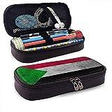 Bandera de Sudán Caja de lápices de cuero de gran capacida