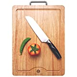 NATURAL Wood Cutting Board Sturdy, Hardwood Chopping Board(15.7x11.8inches) With Juice Groove -100%...