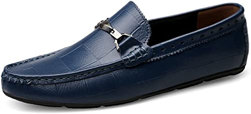JIALUN-des Chaussures Mocassins de Conduite Classiques pour pour Hommes Mocassins Chaussures de Conduite décontractées Confortables pour Hommes (Couleur   Marine, Taille   38 EU)