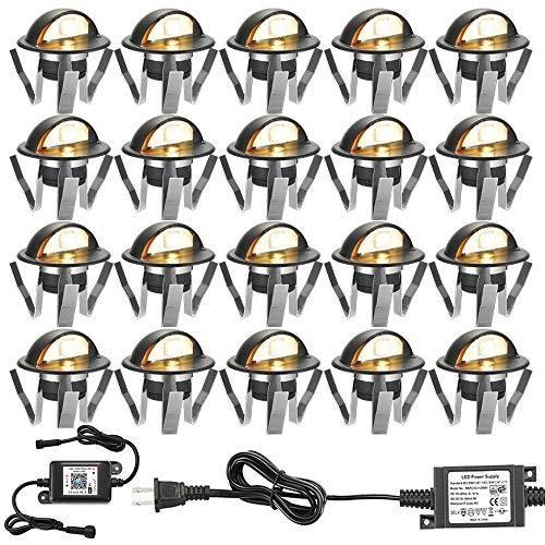 WiFi Deck Lights, FVTLED WiFi Controlled 20pcs Low Voltage LED Deck Lights Kit Φ1.38