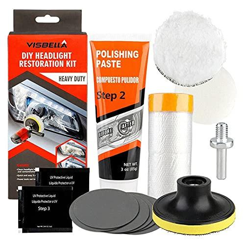 BRAVO HOME Kit de Restauration de phares de Voiture, réparateur de Rayures, Nettoyeur de beauté de véhicule, polisseur de beauté Kit de réparation de Lampe de Nettoyage