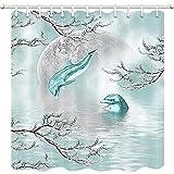 Delfin-Duschvorhang, Delfine, springen aus dem Ozean in Mysitc Sky of Full Moon and Cherry Blossoms Marine Animals Badvorhänge Kids Sea Decor Stoff Badezimmer-Zubehör 12 Stück Duschhaken, 69 x 178 cm