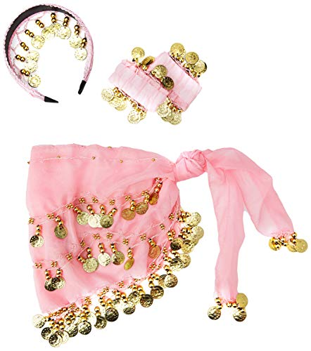 The Turkish Emporium Costume de Danse du Ventre - Ceinture Bracelets Serre Tête à Sequins