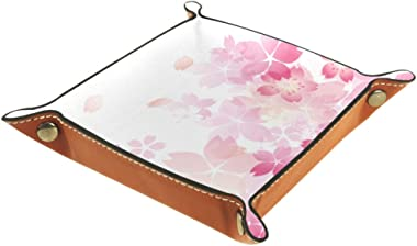 Japan Sakura Blossom Valet Tray Storage Organizer Box Coin Tray Key Tray Nightstand Desk Microfiber Leather Pouch,16x16cm