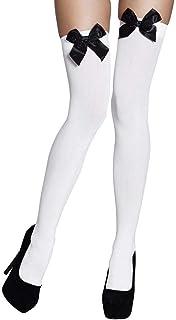 Boland 02271 - Strümpfe Bow, weiß mit schwarzer Schleife, halterlos, blickdicht, Overknees, Damen, one size, Karneval, Hal...