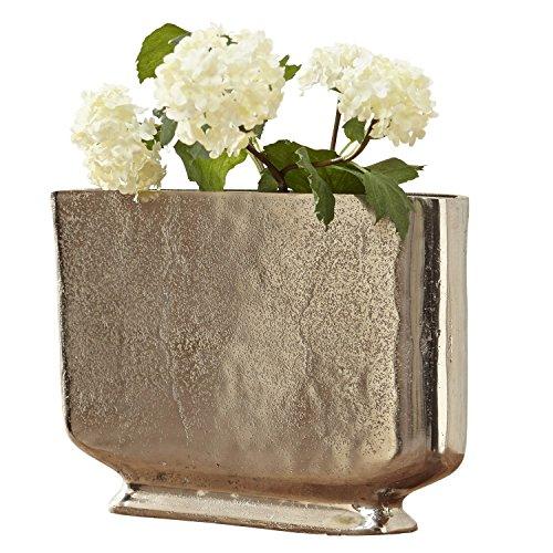 Loberon Vase Tabita, Aluminiumguss, H/B/T ca. 22/34 / 9 cm, Silber