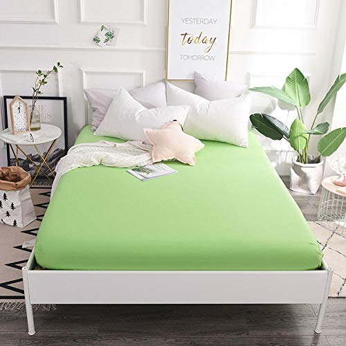 GTWOZNB Non Iron Soft Poly-Cotton Plain Dyed Flat Bed Sheet Single, King Available Cotton bed sheet single piece-fruit green a52_180*200cm