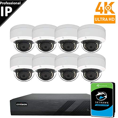 CTVISION UltraHD 4K 8MP (4X1080P) Home Business Security Camera Systems,8-Channel PoE Video Security System(4TB HDD),8pc 4K Outdoor Weatherproof Nightvision 90° Viewing Angle Turret Dome PoE IP Camera
