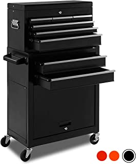 High Capacity Rolling Tool Chest with Wheels and Drawers, 8-Drawer Tool Storage Cabinet,Detachable Organizer Tool Box Combo,Mobile Lockable Toolbox for Workshop Mechanics Garage