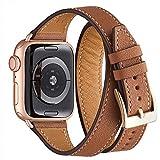 WFEAGL para Correa Apple Watch 38mm 40mm 42mm 44mm Doble Circulo, Correa de Repuesto de Doble Anillo de Cuero para iWatch Series 5 Series 4/3/2/1(38mm 40mm,Marrón/Oro Rosa)
