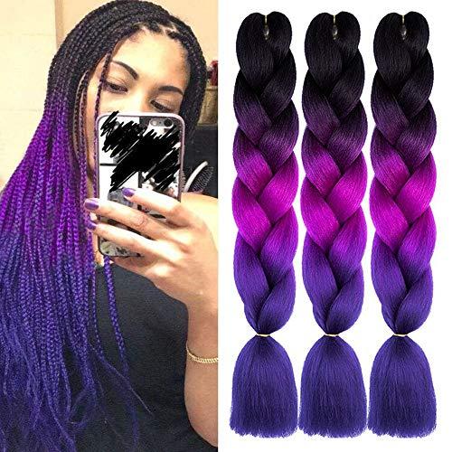 3Pcs/Lot Ombre Jumbo Braiding Hair 24 Inch Ombre Kanekalon Braiding Hair Extensions Synthetic High Temperature Fiber Jumbo Box Crochet Braids for Women(Black/Purple/Blue)