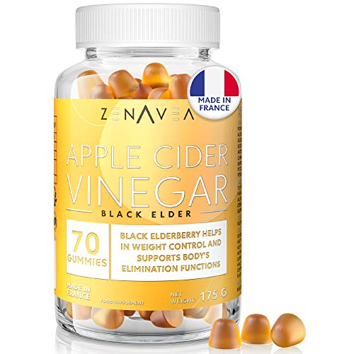Apple Cider Vinegar Gummies - Weight Loss & Anti-Fatigue Nutrition Supplement - 70 Gummies - 1 Month Treatment - Delicious - Vegan - Made in France - Vitamin B9, Vitamin B12, Chromium & Elderberry