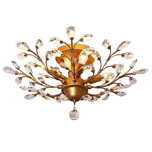 LuFun Modern Crystal Chandeliers,Crystal Pendant Light,Chandelier Lighting Fixtures,Ceiling Light for Living Room Bedroom Restaurant Hallway (4-Light,Gold)