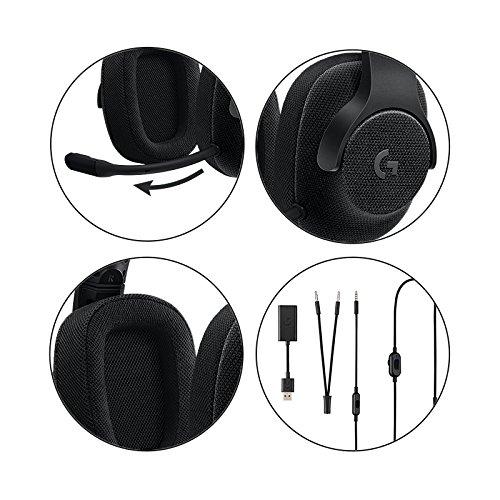 Logitech G433 Kabelgebundene Gaming Kopfhörer (7.1 Surround Sound, für PC, Xbox One, PS4, Switch, Mobiltelefon) schwarz