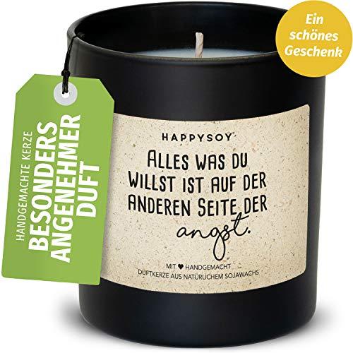 Happysoy Soja geurkaars in glas met spreuk, 100% natuurlijk handgemaakt, duurzaam cadeau voor beste vriendin, vriend, mama, papa, collega, collega, oma opa, motivatie liefde geluk cadeau.