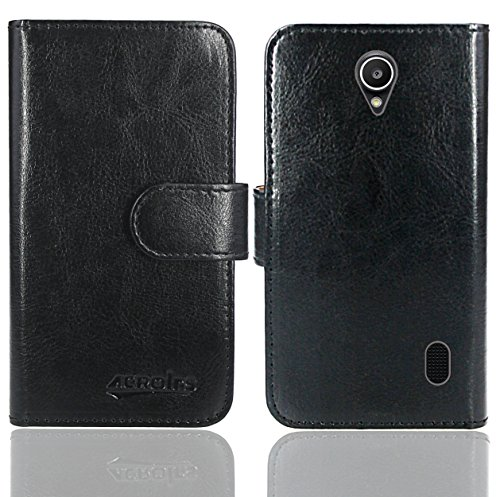 Huawei Y635 Handy Tasche, FoneExpert® Wallet Hülle Flip Cover Hüllen Etui Ledertasche Lederhülle Premium Schutzhülle für Huawei Y635 (Wallet Schwarz)
