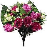 Yyhmkb 42Cm Rosa Artificial y arbusto de Bayas con 2 & Quot;Cabezas de Flores - Boda Tumba Decoración del hogar Flowershot Pink