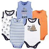 Hudson Baby Unisex Baby Cotton Sleeveless Bodysuits, Sandcastle, 6-9 Months
