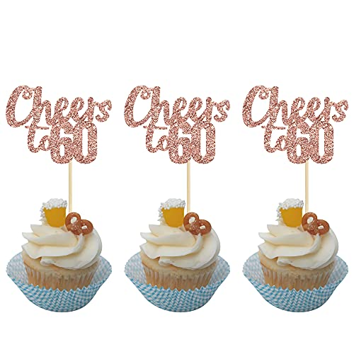 Gyufise 24 Pack Rose Gold Glitter Cheers to 60 Cupcake Toppers 60th Birthday Cupcake Decorations for 60th Wedding Anniversary Birthday Party Cake Decorations Supplies
