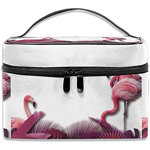 Voyage Sac cosmétique Rose Flamant Rose PlamToietry Maquillage Sac Pochette fourre-Tout Cas Organisateur de Stockage pour Femmes Filles