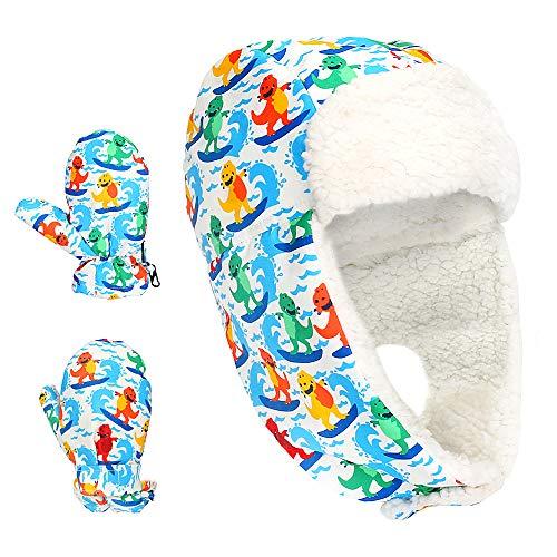 Achort Czapka zimowa rękawiczki dla dzieci, wodoodporna dziecięca czapka narciarska z rękawicami narciarskimi, ciepła zimowa czapka łapaczka, wiatroszczelne klapki na uszy kapelusze dla chłopców dziewcząt w wieku od 3 do 5 lat (rozmiar L) niebieska