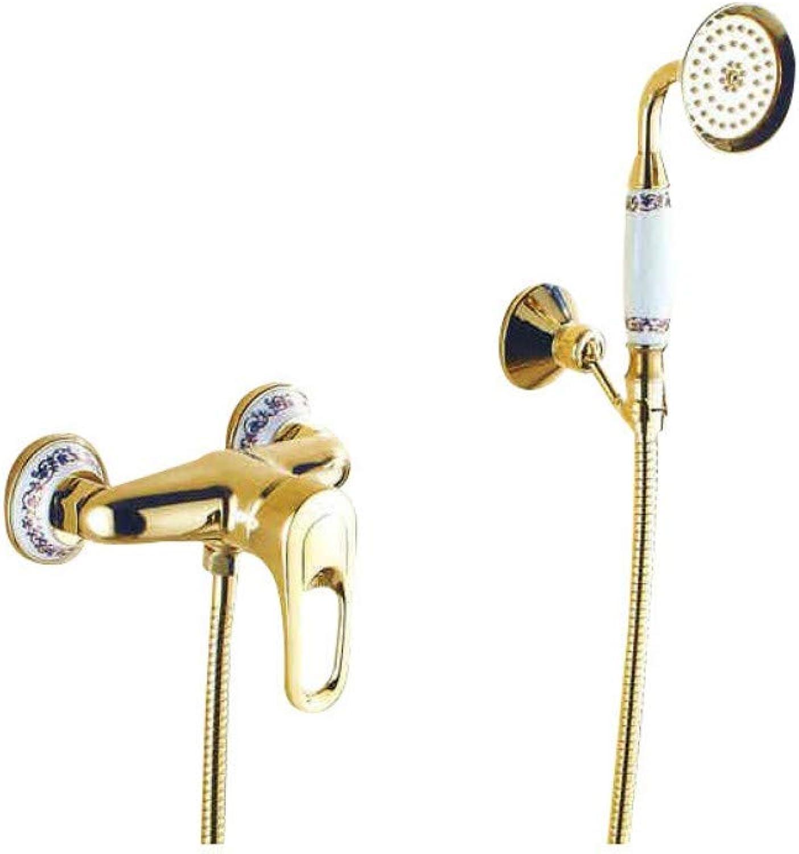 KaO0YaN-Shower Vollkupferduschset Goldener Duschkopf Dekoration Aus Blauem Und Weiem Porzellan Duschsystem Duschset