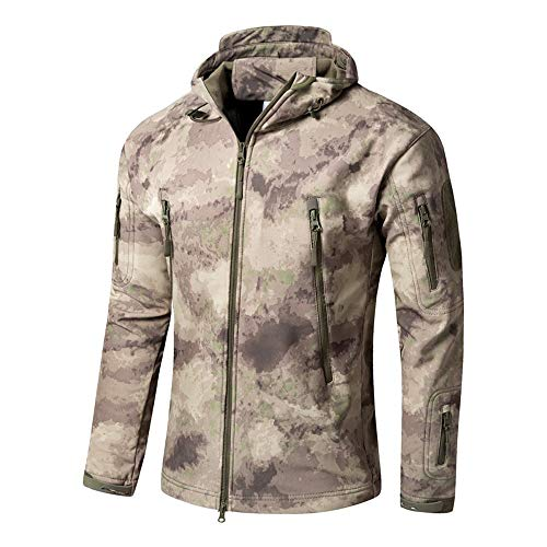 Bebling Herren Military Softshell Tactical Jacket mit Kapuze Fleece Coat HFX, Large