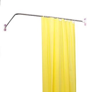 Wing Bastone per Tenda Doccia Curvo angolare Regolabile Asta per Tenda Doccia a Forma di L en Acciaio Inox Argento,70to95cm/×70to95cm