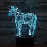 Creativo Unicornio Gradientes USB 3D LED Luz de noche Lámpara de mesa Decoración de cabecera Regalo para niños