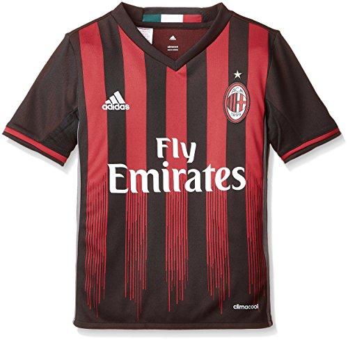 adidas H JSY Y Camiseta 1ª Equipación AC Milán 2015/16, Niños, Negro/Rojo, 11-12 años