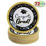 "JOYIN 72 Pcs Graduation Party Supplies 9"" Graduation Party Paper Plates Graduation Party Accessories Graduation Party Favors"