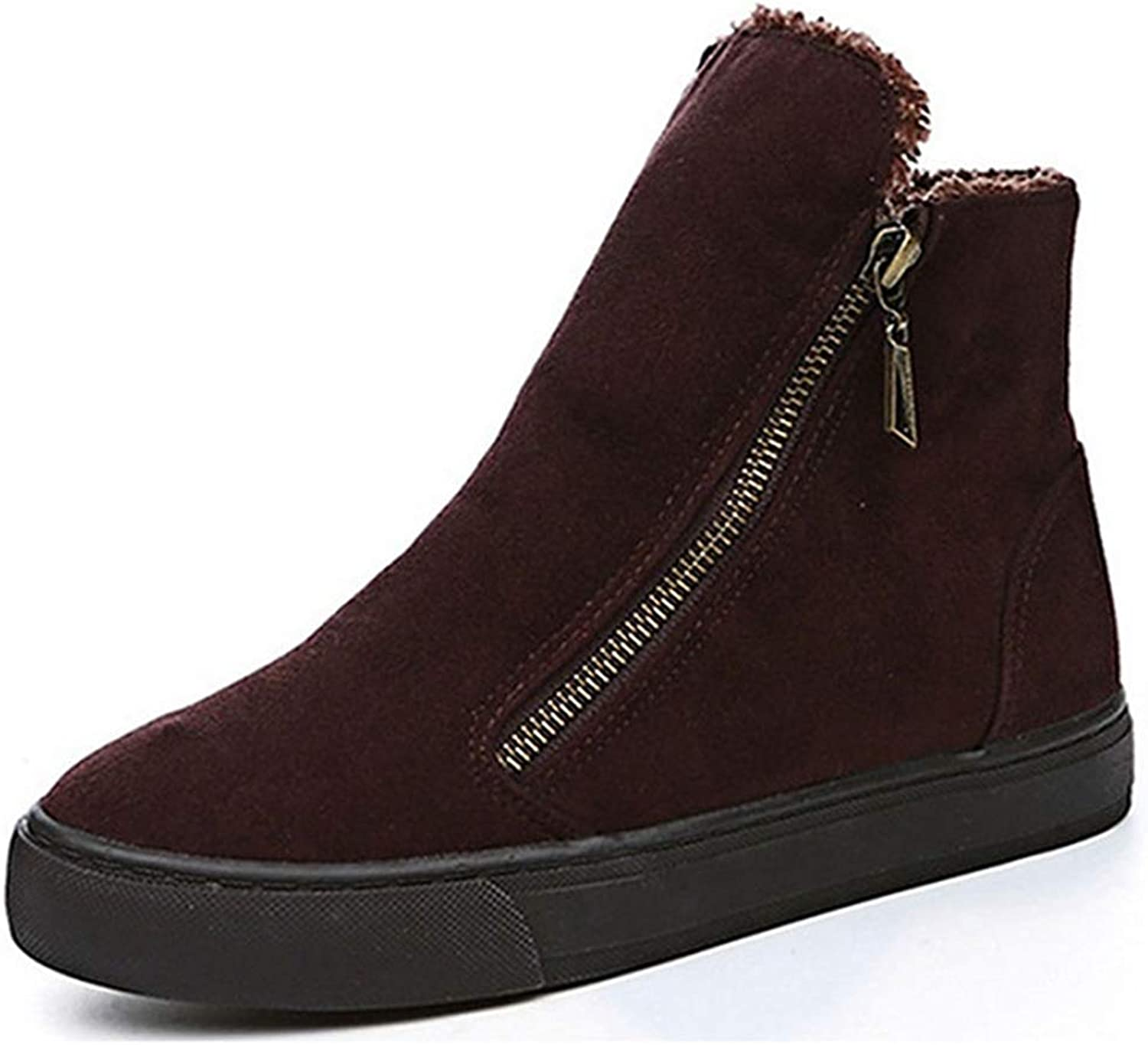 Fay Waters Womens Winter Casual Round Toe Zip Flock Plush Ankle Booties Low Heel Sneakers Snow Boots