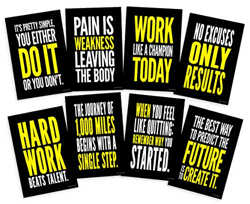 Motivational Posters For Gym; Success Quote Wall Art Inspired By Crossfit And Gym Exercise Workout For Weight Loss Cardio 12X18 Inch Size, Set Of 8 Unframed
