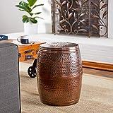 Hammered Dark Bronze Metal Barrel Accent Table, 14' x 19'