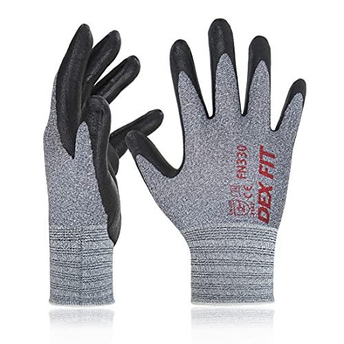 DEX FIT Arbeitshandschuhe FN330, 3D Comfort Stretch Fit, Power Grip, mit Strapazierfähigem Schaumnitril beschichtet, Smart Touch, Dünn & Leicht, Maschinenwaschbar, Grau 7 (S) 3 Paare