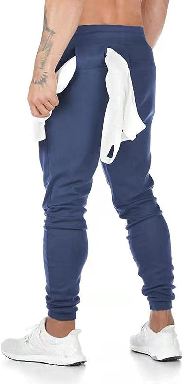 Huangse Men's Lightweight Joggers Casual Slim Sweatpants Tapered Track Workout Running Gym Slim Fit Pants