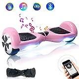 TOEU - Patinete Eléctrico Hoverboard, Ruedas de 6.5', Leds, Potente batería de Litio, Bluetooth, Self Balancing, monopatín eléctrico Auto-Equilibrio (Pink-Bluetooth)