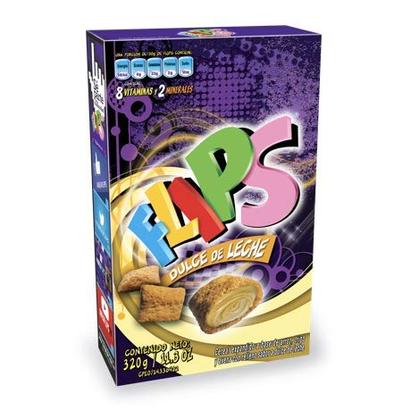 FLIPS DULCE DE LECHE Venezuela. Caja 320 gr / 11.3 oz. Cereal a base de arroz, trigo y avena en forma de almohaditas, con delicioso relleno sabor a dulce de leche