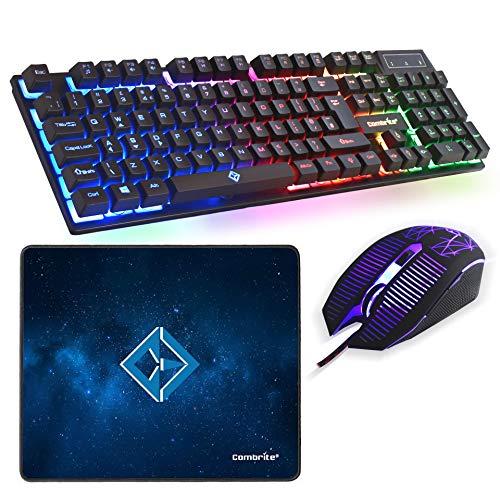 Combrite Raptor Gaming-Tastatur und Maus-Set mit großem Mauspad, Regenbogen-LED, USB-Kabel-Desktop-Kombination, UK-Layout, für PC, Laptop, PS4, Xbox One, schwarz